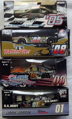 Lot 4  NASCAR Army #1 Lowes #08 Watkins Glen #05 #08 1/64 Cars Car Diecast MIB