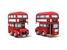 london double decker bus 3d model low-poly fbx 1