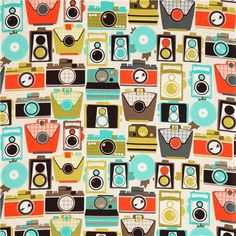 retro camera fabric colorful jewel by Michael Miller 2