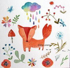 Fox-Red Fox-Flowers-Art Print-Wall Art-Nursery Art-home decor-room decor-rain-cloud on Etsy, $16.99