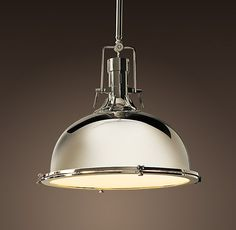 "Harmon Pendant from Restoration Hardware - 19"" pendant in polished nickel."