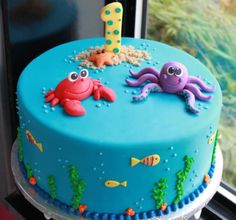 Birthday Cakes: Beautiful Baby Birthday Cake Ideas Simple but SO cute! Check it out on (Photo via Whipped Bake Shop) under the sea cakeSimple but SO cute! Check it out on (Photo via Whipped Bake Shop) under the sea cake Ocean Cakes, Beach Cakes, Baby Shower Kuchen, Bolo Fack, Baby Birthday Cakes, Beach Cake Birthday, Boy Birthday, Birthday Ideas, Turtle Birthday