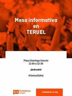 Jueves 22 de Enero de 11:00 a 12:30  Mesa informativa en TERUEL Plaza Domingo Gascón
