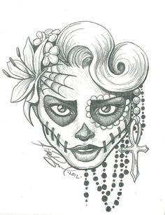 Skull Art   sugar skull two by leelab traditional art drawings macabre horror took ...