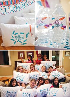 A Sleepover Birthday Party with morning brunch, feather silhouettes, rainbow looms, karaoke, – 'Pillow Fight' pillowcases + a rainbow frosted layer cake