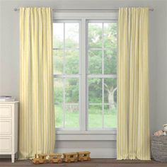 Banana Yellow Weathered Stripe Drape Panel made with care in the USA by Carousel Designs. Window Drapes, Curtains, Yellow Nursery, Free Fabric Swatches, Carousel Designs, Drapery Panels, Rod Pocket, Banana, Room