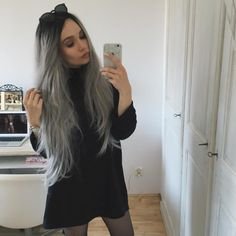 """24\"""" Black Grey Ombre Straight Synthetic Lace Front Wig-edw1041"""