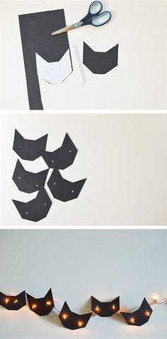 DIY Black Cat Garland - Halloween decorations