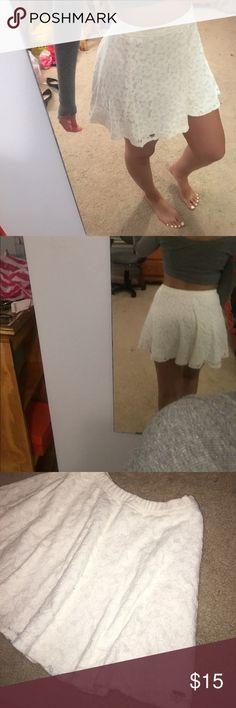 White lace skirt Skater skirt, flowy, lace Hollister Skirts Mini