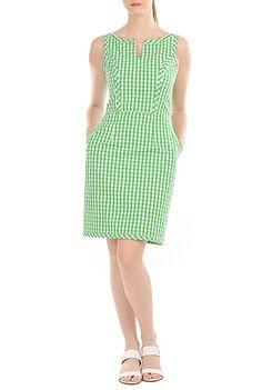 I <3 this Split neck gingham check sheath dress from eShakti