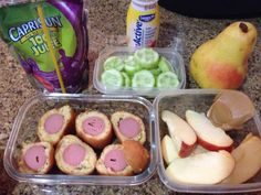 18/09 Corn dog bites, apple and peanut butter, cucumbers, pear, juice and yogurt.