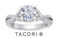 1 Carat Brilliant Cut Diamond TACORI Engagement Ring 18K White Gold GIA Certified Center