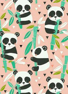 Cute pastel panda wallpaper