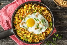 Fry your leftover rice with some sausage and top it with fried eggs for dinner perfection. Rice Recipes, Asian Recipes, Healthy Recipes, Ethnic Recipes, Healthy Food, Recipies, Rice In The Oven, Portuguese Sausage, Recipes