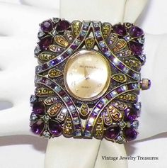 Heidi Daus Purple Blue Multi Crystal Soft Beige Leather Strap Watch New HSN