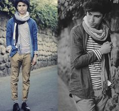 H&M and Zara, striped sweater, jean jacket, and scarf.