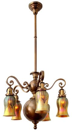 Antique Ceiling Fixture Circa 1910 Five Light Exceptional Williamsburg Scroll Arm With Cast