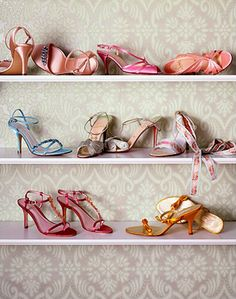 Shoe Storage and Display ideas... obviously would have to back it with pretty wall paper!