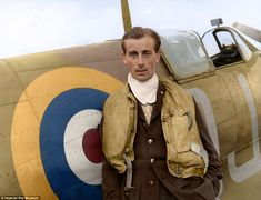 Battle of Britain pilot Neville Duke, who later broke the World Air Speed record, pictured with his Spitfire at RAF Biggin Hill in 1941