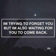 Im trying to forget you but I'm also waiting for you to come back.