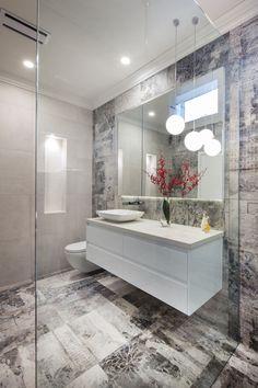 Panorama of Simply Bathroom Solutions Balwyn North Bathroom Renovation.  #bathroom #design #creative #bathroomdeisgn #bathroomrenovation #tiles #lighting #red #grey #vanity