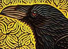 painted woodcut block on salvaged hardwood x Lisa Brawn 2015 Crow Art, Raven Art, Scratchboard, Foto Art, Linocut Prints, Woodblock Print, Oeuvre D'art, Ceramic Art, Pet Birds