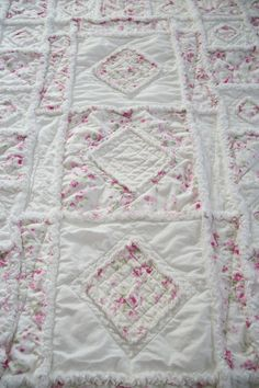 Shabby Chic Soft Rose Applique Baby Rag Quilt