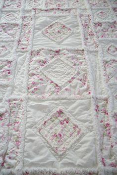 Shabby Chic Soft Rose Applique Baby Rag Quilt