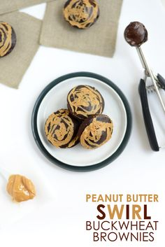 100-Calorie Peanut Butter Swirl Buckwheat Brownies - Fit Foodie Finds