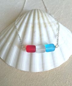 Use code FIREWORKS for 20% off your order this weekend!  Fourth of July Necklace  Patriotic Jewelry  Red by LaniMakana