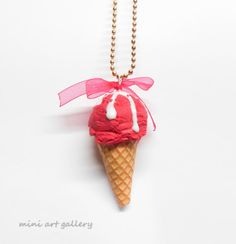 Cherry Ice-cream necklace / cherry sorbet flavor / scoop cone / frozen whipped cream / polymer clay miniature food jewelry / pink fuchsia. By Mini Art Gallery