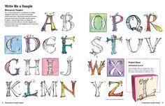 Zenspirations Dangle Monograms with Joanne Fink Hand Lettering Alphabet, Doodle Lettering, Alphabet Art, Creative Lettering, Lettering Styles, Lettering Design, Tangle Doodle, Zen Doodle, Doodle Art