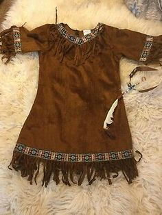 Child's Sz L Suede-Look Indian Costume Dress Tunic Top Spirit Headband, Feather - Buntes Kostüm Frauen Diy Girls Costumes, Costumes For Women, Pocahontas Costume Kids, Native American Dress, Feather Dress, Feather Headband, Indian Costumes, Girl Doll Clothes, Work Clothes