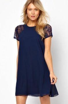 Blue Contrast Lace Short Sleeve Split Chiffon Dress  #Sheinside