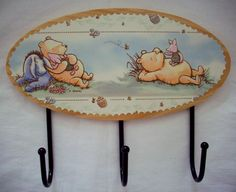 3 Hook Wall Plaque Hanging Classic Winnie The Pooh. DYI using a template and boarder or picture with lacquer and glue.