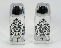 Lacy Black Damask Hand Painted Glass Salt and Pepper Shakers