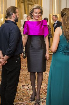 Queen Mathilde and King Philippe of Belgium and Prince Lorenz and Princes Astrid of Belgium attended the Autumn Concert 2016 at the Royal Palace on October 2016 in Brussels, Belgium. Royal Dresses, Gala Dresses, African Wear, African Fashion, Mom Dress, Vestidos Vintage, Mothers Dresses, Blouse And Skirt, Royal Fashion