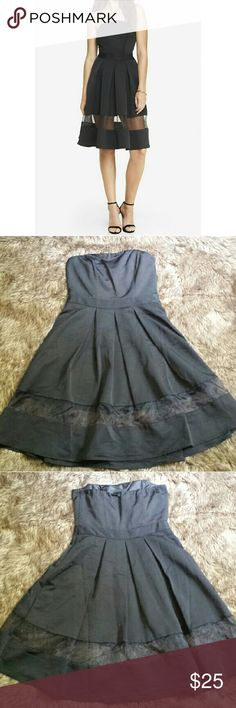 Express strapless organza cutout black dress Never worn! Fits like a glove, so stylish and sophisticated Express Dresses Midi