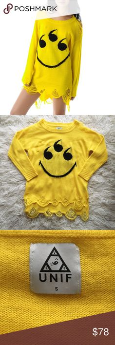 UNIF 6 Eyes Smiley Sweater UNIF purposely distressed yellow sweater with 6 eyes smile graphic. Great condition UNIF Sweaters Crew & Scoop Necks