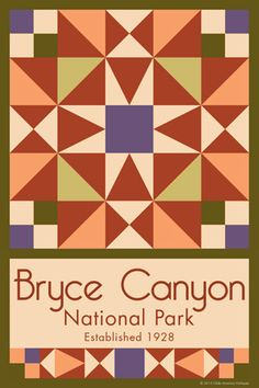Bryce Canyon National Park Quilt Block designed by Susan Davis. Susan is the owner of Olde America Antiques and American Quilt Blocks She has created unique quilt block designs to celebrate the National Park Service Centennial in 2016. These are the first quilt blocks designed specifically for America's national parks and are new to the quilting hobby.