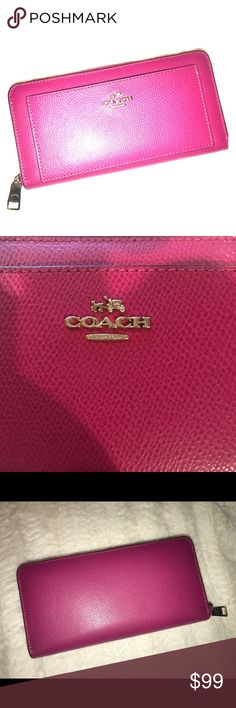 "Pink Leather Coach Zip Around Wallet F52648 Used once, in new condition. Color is ""cranberry pink"". Beautiful! No scratches, stains or marks anywhere on it. Gold-toned hardware. Measures 7.5"" x 4"" x 1"".  Lots of pockets and space in this beautiful wallet! Coach Bags Wallets"