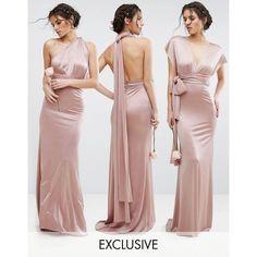 TFNC WEDDING Multiway Maxi Dress in Sheen ($83) ❤ liked on Polyvore featuring dresses, wedding dresses and pink