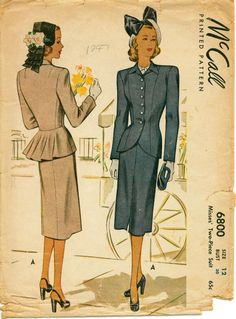 1940's Vintage Pattern  McCALL 6800  Gorgeous by shellmakeyouflip, $28.00