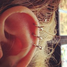 Triple spiral helix piercing. on The Fashion Time…