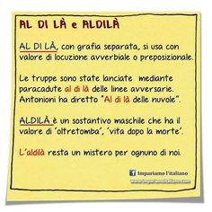 "Differenza tra ""al di là"" e ""aldilà"". . #learningitalian #learnitalian #imparareitaliano #aprenderitaliano #studyitalian #italianlanguage #italianlessons #italianteacher #languages #languagelearning"