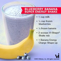 Vi Shape Shake Recipe of the Day:  Blueberry Banana Super Energy Shake To access this recipe, please copy and paste the following link into your browser:  https://www.facebook.com/photo.php?fbid=606143279401538=pb.354421241240411.-2207520000.1364409269=3