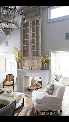 Glass door over fireplace. Beautiful.