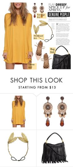 """""""Spring Fashion with Genuine People"""" by pianogirlzoe ❤ liked on Polyvore featuring Spring, fringe, shirtdress, fringebag and Genuine_People"""