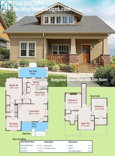 Architectural Designs Bungalow House Plan has porches front and back, a master on main and two beds upstairs plus a flex room that can be used as a guest room or a den/study. Over square feet of heated living space. Basement House Plans, Bungalow House Plans, Craftsman House Plans, New House Plans, Dream House Plans, Small House Plans, House Floor Plans, Small Floor Plans, Bungalow Homes