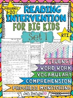 Reading Intervention Program for Big Kids! This resource includes daily intervention lessons for a month! It includes 20 fluency passages, targeted comprehension, word work, and vocabulary for each day. It also includes progress monitoring line graphs, bar graphs, and so much more!! ($)
